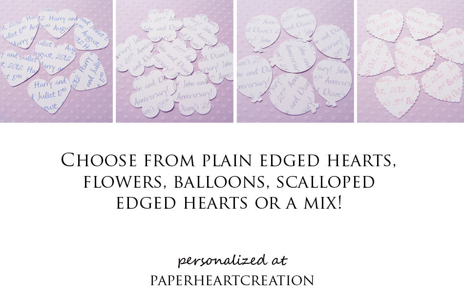 250 Personalised Text Confetti - Choice of 4 shapes - Great for Weddings, Invites, Decor, Favours, Special Occassions