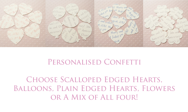 1000 x Ivory Cream Personalised Text Confetti - Choice of 4 shapes - Great for Weddings, Invites, Decor, Favours