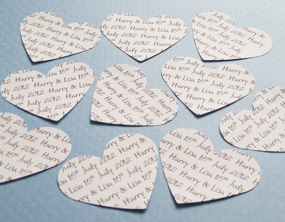 75 2inch Personalised Heart Confetti - Great for Weddings, Invites, Table Decor, Favours, Parties