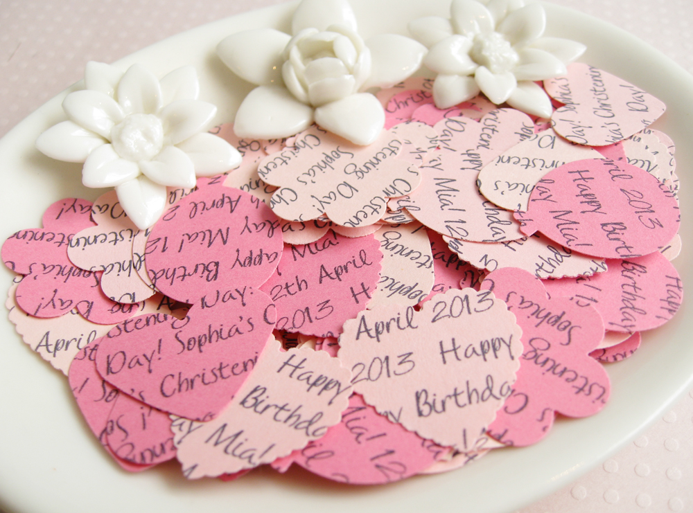 200 x Personalised Pink Confetti - 4 Shapes to Choose - Great for Baby Showers, Christenings, Birthdays