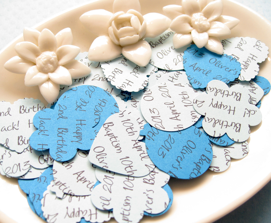 100 x Personalised Blue Confetti - 4 Shapes to Choose - Great for Baby Showers, Christenings, Birthdays
