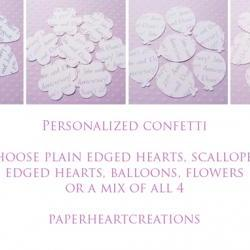 200 x Personalised Confetti Hearts - Great for Weddings, Invites, Table Decor, Favours